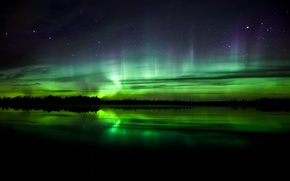 Picture water, nature, reflection, Northern lights