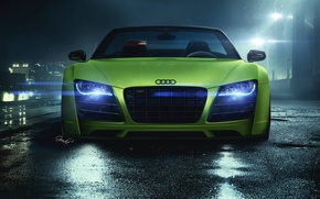 Picture Audi, Light, Green, Front, Supercar, Airport, GoodieDesign