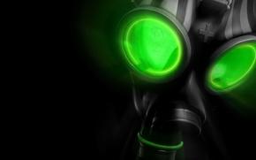 Wallpaper green, black, gas mask