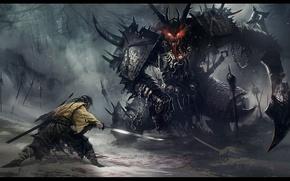 Picture monster, samurai, fight