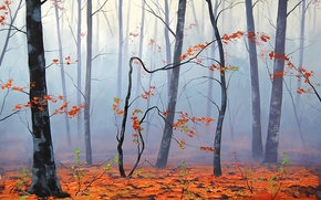 Picture autumn, leaves, trees, nature, fog, art, artsaus