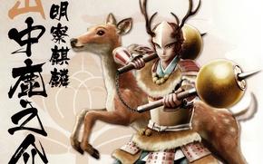 Picture weapons, armor, deer, samurai, characters, horns, helmet, fur, Sengoku Basara, Shikanosuke Yamanaka, by Makoto Tsuchibayashi