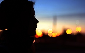 Picture eyes, girl, face, lights, background, widescreen, Wallpaper, mood, the evening, silhouette, profile, wallpaper, widescreen, background, …