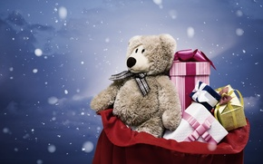 Wallpaper snow, grey, holiday, toy, new year, bear, gifts, new year, bag, plush, toy, bear, snow, ...