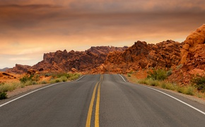 Picture road, the sky, clouds, stones, desert, highway, USA, Nevada, national Park, Valley of fire, Valley ...