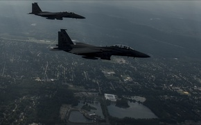 Picture USA, night, two, air force, Aviation, Strike Eagles