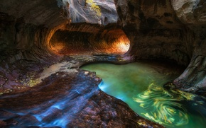 Picture autumn, water, rocks, stream, excerpt, USA, Utah, October, Zion national Park, Slot canyon