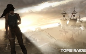Picture the sky, girl, clouds, the game, ship, Tomb Raider, lara croft