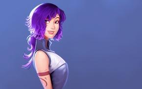Picture art, blank background, smile, art, figure, girl, purple hair, by Raichiyo33