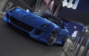Picture car, machine, auto, Ferrari, Ferrari, supercar, supercar, blue, 599, blue, GTO, avto, deep blue