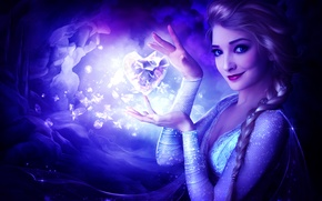Picture girl, cartoon, art, frozen heart, frozen heart