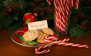 Picture branch, holiday, Santa, toys, sweet, cookies, bumps, plate, happy new year, tree, new year, food, ...