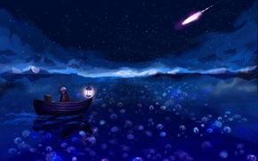 Picture night, boat, beauty, anime, comet