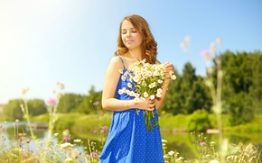 Wallpaper dress, river, the sun, summer, blue, girl, chamomile, glade, hairstyle, brown hair, trees, nature, bouquet, ...