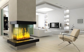 Picture design, style, room, fire, interior, fireplace