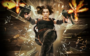 Picture glass, flight, fragments, weapons, fiction, shooting, sleeve, Milla Jovovich, Milla Jovovich, Resident Evil: Afterlife, Resident …