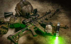 Picture gun, ray, flashlight, rifle, helmet, assault, AR-15, semi-automatic