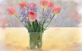 Wallpaper flowers, bouquet, tulips, bells