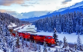 Picture winter, forest, the sky, clouds, snow, mountains, train