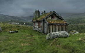 Picture summer, mountains, clouds, house, Norway, Rogaland, Gullingen