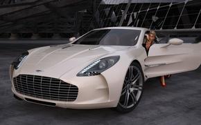 Picture girl, Aston Martin, graphics, art, One-77, elite supercar