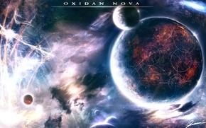 Picture space, planet, stars, Oxidan nova