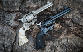 Picture weapons, two, the handle, revolvers