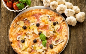 Picture mushrooms, cheese, pizza, tomatoes, olives, mushrooms, cheese, ham, Fast food, tomato, olives, Pizza, ham