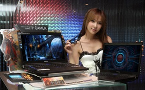 Picture girl, glasses, Gamer, samsung, blade and soul