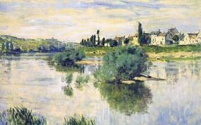 Picture landscape, river, picture, Claude Monet, Hay in Lavacore