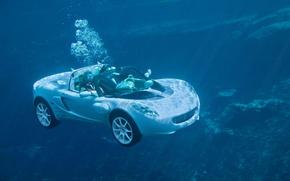 Wallpaper machine, diver, under water
