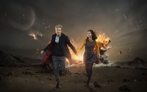 Picture girl, the explosion, fiction, desert, planet, actress, actor, male, Doctor Who, Doctor Who, Peter Capaldi, …