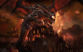 Picture Red, Dragon, Fire, Flames, Buildings, Burning