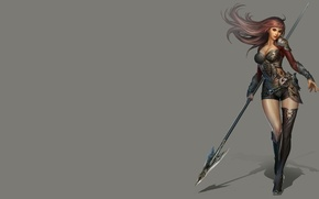 Picture girl, weapons, the game, armor, warrior, art, China, spear, character