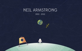 Picture The moon, Earth, astronaut, Neil Armstrong, Neil Armstrong