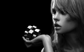 Picture girl, face, model, hand, figure, lips, cube, beautiful, black background, cute, keeps, puzzle, Nastya, Anastasia …