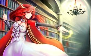 Picture girl, magic, books, art, chandelier, horns, red, library, red eyes, shelves, maoyuu maou yuusha, seisetu, …