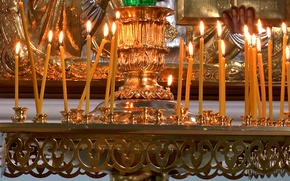 Picture fire, interior, Candles, temple, fire, gold, candlesticks, candle, temple, Candles