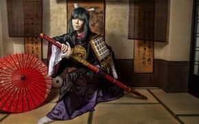 Picture girl, face, style, clothing, katana, kimono, Asian