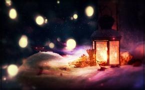 Picture snow, branches, lantern, bumps, bokeh