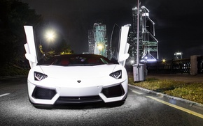 Picture white, lamborghini, tuning, power, front, face, italy, aventador, moscow city, LB834, Moscow city