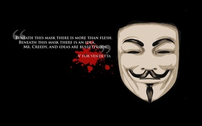 Picture freedom, background, black, mask, freedom, quote, v for vendetta