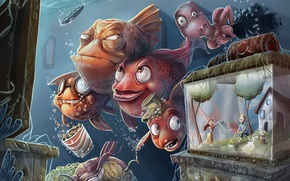 Picture fish, people, aquarium, humor, TV, family, art, octopus, underwater world