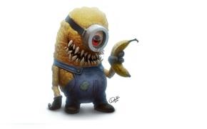 Wallpaper look, cartoon, monster, teeth, zombies, banana, Minion, Minion