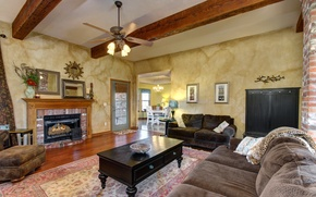 Picture design, room, sofa, interior, the ceiling, chandelier, fireplace, living room