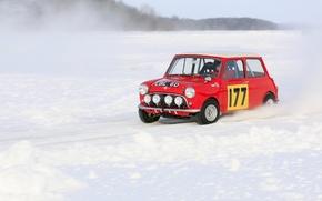 Picture Red, Winter, Snow, Lights, Mini Cooper, Rally, MINI, Mini Cooper