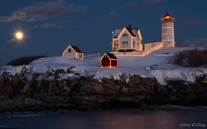 Picture sea, light, night, rocks, the moon, lighthouse, home, backlight