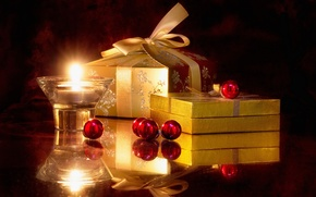 Picture balls, reflection, candles, gifts, light, podsvechnik