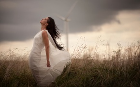 Picture field, girl, storm, windmill