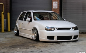 Picture volkswagen, turbo, white, golf, tuning, power, speed, germany, low, r32, stance, mk4, sparco